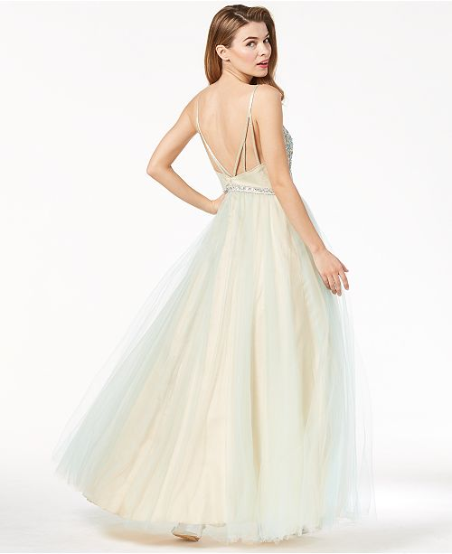 Say Yes to the Prom Juniors\' Embellished Strappy-Back Gown, Created ...