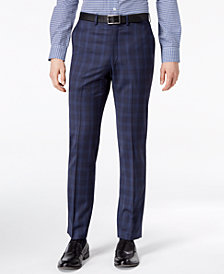 CLOSEOUT! DKNY Men's Modern-Fit Stretch Blue Plaid Suit Pants