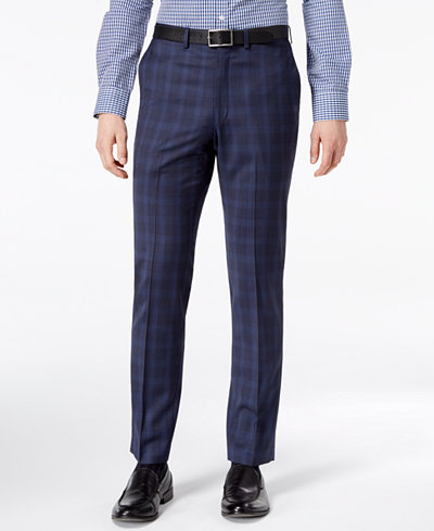 DKNY Men's Modern-Fit Stretch Blue Plaid Suit Pants