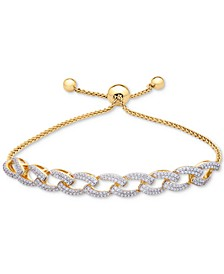 Diamond Link Bolo Bracelet (1 ct. t.w.) in 14k Gold-Plated Silver, Created for Macy's