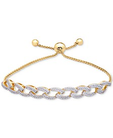 Wrapped in Love™ Diamond Link Bolo Bracelet (1 ct. t.w.) in 14k Gold-Plated Silver, Created for Macy's
