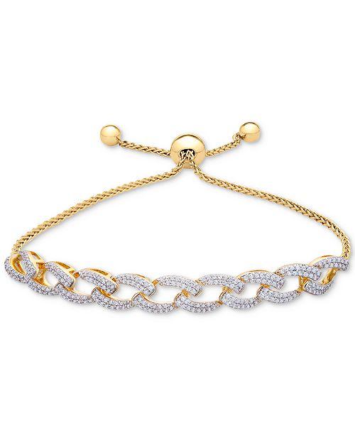 187f51955b0548 t.w.) in; Macy's Wrapped in Love™ Diamond Link Bolo Bracelet (1 ct.