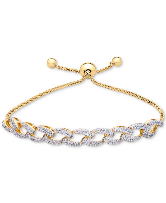 Wrapped in Love - Diamond Link Slider Bracelet (1 ct. t.w.) in 14k Gold-Plated Silver