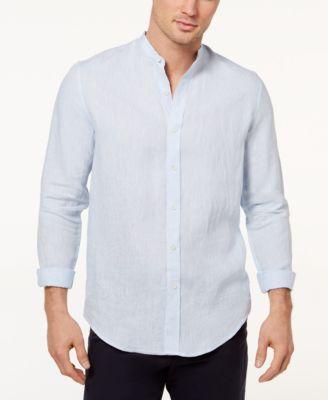 Tasso Elba Island Men\u0027s Band-Collar Linen Shirt, Created for Macy\u0027s