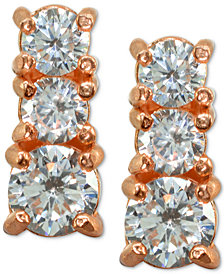 Giani Bernini Cubic Zirconia Graduated Stud Earrings in Sterling Silver, Created for Macy's