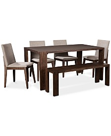 Crosby Dining Furniture, 6-Pc. Set (Table, 4 Upholstered Side Chairs & 1 Bench), Created for Macy's