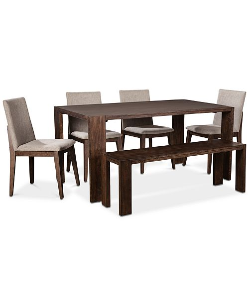 Crosby Dining Furniture, 6-Pc. Set (Table, 4 Upholstered Side Chairs & 1  Bench), Created for Macy\'s