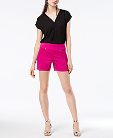 I.N.C. Inverted-Pleat V-Neck Top & Pull-On Shorts, Created for Macy's