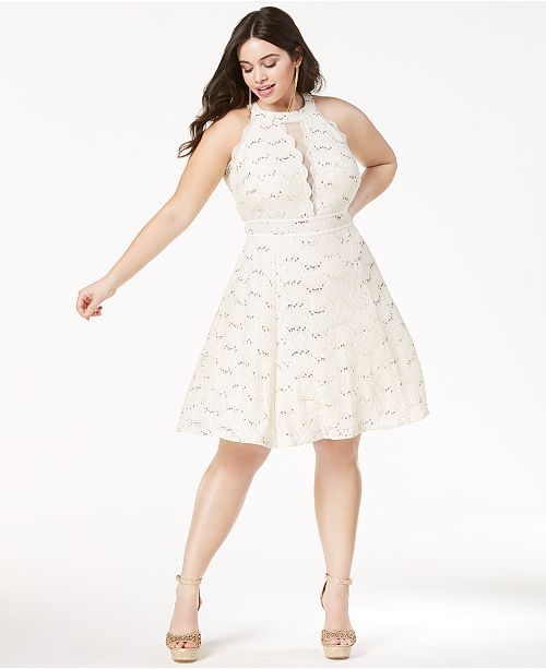 Morgan Company Trendy Plus Size Lace Fit Flare Dress Dresses