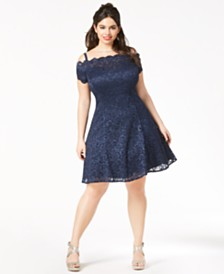 Morgan & Company Trendy Plus Size Lace Fit & Flare Dress