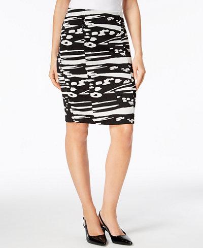 Alfani Knit Jacquard Pencil Skirt, Created for Macy's