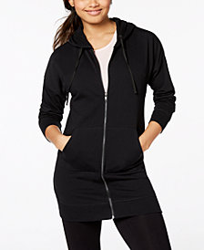 Material Girl Active Juniors' Zip-Front Lace-Up Tunic Hoodie, Created for Macy's