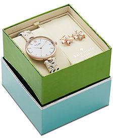 kate spade new york Women's Holland Pink Floral Leather Strap Watch 34mm Box Set