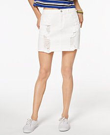 Tinseltown Juniors' Ripped Denim Skirt