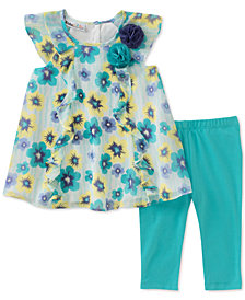 Kids Headquarters 2-Pc. Floral-Print Tunic & Leggings Set, Little Girls