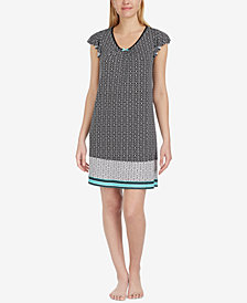 Ellen Tracy Printed Short-Sleeve Nightgown