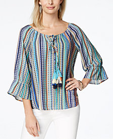 John Paul Richard Petite Printed Tie-Neck Peasant Top