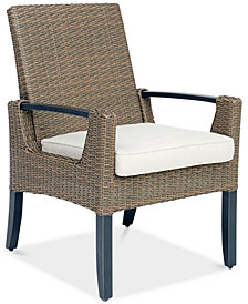 CLOSEOUT! Genevieve Outdoor Aluminum & Wicker Dining Chair with Sunbrella® Cushion, Created for Macy's