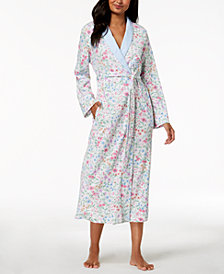 Miss Elaine Long Wildflower-Print Wrap Robe