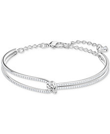 Swarovski Rose Gold-Tone Crystal Knot Bangle Bracelet