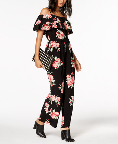 The Edit By Seventeen Juniors' Printed Off-The-Shoulder Jumpsuit, Created for Macy's