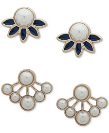 Ivanka Trump Gold-Tone 2-Pc. Set Imitation Pearl & Blue Jacket Earrings