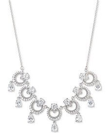 "Marchesa Silver-Tone Cubic Zirconia  Link Statement Necklace, 16"" + 3"" extender, Created for Macy's"