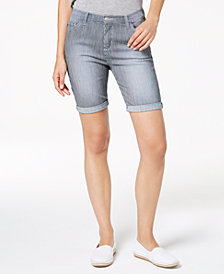 Lee Platinum Petite Railroad-Stripe Denim Shorts