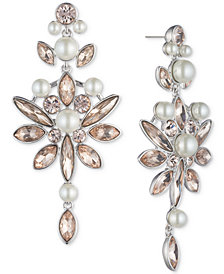 Givenchy Silver-Tone Crystal & Imitation Pearl Drop Earrings