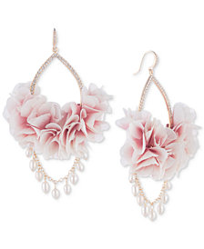 Carolee Gold-Tone Pavé & Imitation Pearl Pink Fabric Flower Drop Earrings