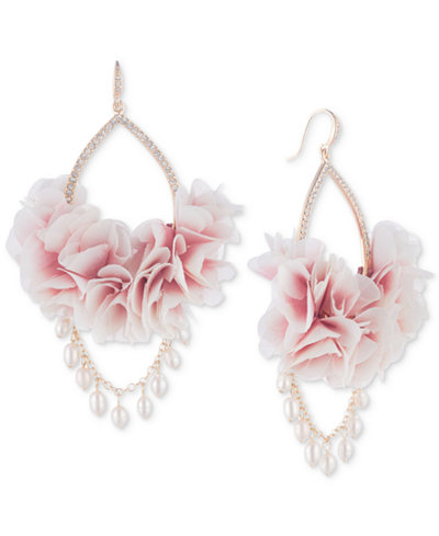 Carolee Gold-Tone Pavé & Imitation Pearl Pink Fabric Flower Drop Earrings