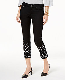 MICHAEL Michael Kors Embellished-Cuff Cropped Jeans