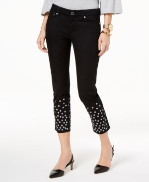 Michael Michael Kors Embellished-Cuff Cropped Jeans 5869673