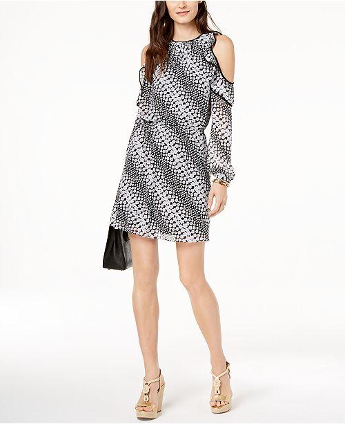 b7bcfe177b7 Michael Kors Petite Ruffled Cold-Shoulder Dress   Reviews - Dresses ...