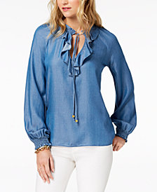 MICHAEL Michael Kors Ruffled Chambray Peasant Top