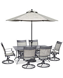 "Vintage II Outdoor Aluminum 7-Pc. Dining Set (72"" x 38"" Dining Table & 6 Swivel Rockers), Created for Macy's"