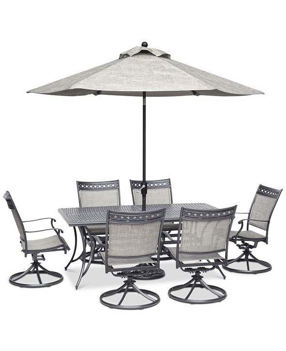 """Furniture Vintage II Outdoor Aluminum 7-Pc. Dining Set (72"""" x 38"""" Dining Table & 6 Swivel Rockers), Created for Macy's"""