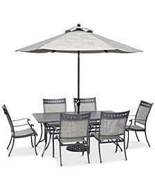 "Vintage II Outdoor Aluminum 7-Pc. Dining Set (72"" x 38"" Dining Table & 6 Dining Chairs), Created for Macy's"