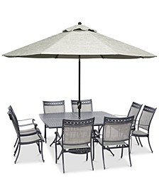 "Vintage II Outdoor Cast Aluminum 9-Pc. Dining Set (64"" x 64"" Table & 8 Sling Dining Chairs), Created for Macy's"
