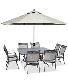 "Vintage II Outdoor Aluminum 9-Pc. Dining Set (64"" Square Dining Table & 8 Dining Chairs), Created for Macy's"