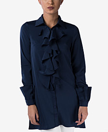 Verona Collection Ruffled Long-Sleeve Shirt