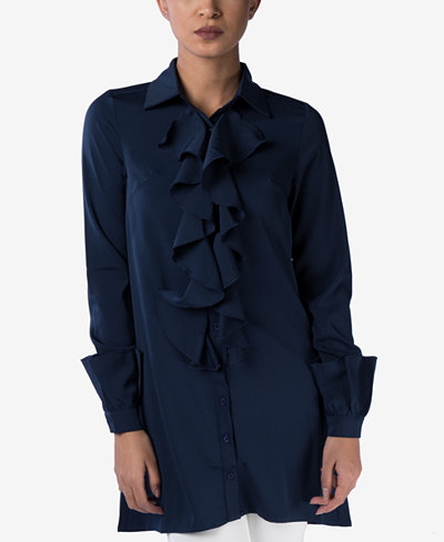 Verona Collection Ruffled Long-Sleeve Shirt