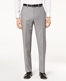 Men's Classic-Fit Airsoft Stretch Grey Solid Suit Pants