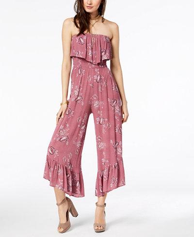 American Rag Juniors' Floral-Print Ruffled Jumpsuit, Created for Macy's