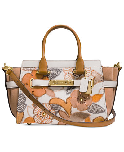 COACH Swagger 27 Small Satchel with Patchwork Tea Rose