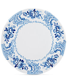 "Q Squared Cambridge Rose in Cobalt Melamine 16"" Serving Platter"
