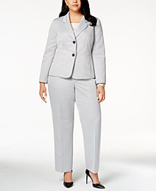 Le Suit Plus Size Textured Pantsuit