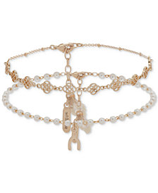 lonna & lilly Gold-Tone 2-Pc. Set Bead & Tassel Anklets, Created for Macy's