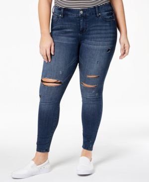 Celebrity Pink Plus Size Distressed Skinny Ankle Jeans 5870224