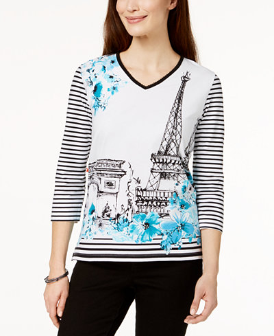 Alfred Dunner Play Date Paris Graphic Top